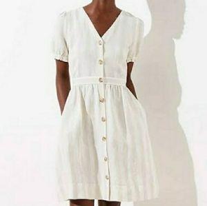 Ann Taylor Loft Striped Puff Sleeve Linen Dress